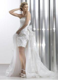 Sheath/Column Strapless Watteau Train Organza Satin Wedding Dress With Lace Beading