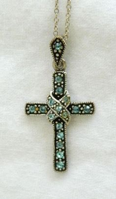 Sterling Silver 925 Crucifix Cross Pendant & Chain Necklace Blue Rhinestone