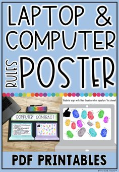 Laptop and computer rules poster - Computer Rules, Computer Humor, Computer Laptop, Computer Science, Classroom Rules, Classroom Posters, Google Classroom, Classroom Ideas, Math Anchor Charts
