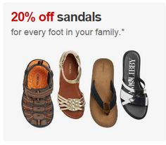 20% off sandals for the whole family starting at $3.19 with free shipping!