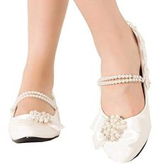 156c9d71fcaf46 Getmorebeauty Women s Mary Janes Flats Pearls Flower Dress Wedding Shoes 8  B(M) US. Decorative Across Pearl Bows. Heel measures approximately Fit for  ...