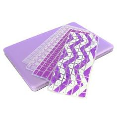 "UHURU Great Deal Bundle for Apple Macbook Air 11"" / 13"" - Ultra Slim Rubberized Hard Case + 4 Different Styles Silicone TPU Chevron Keyboard Covers (Macbook Air 11"" A1370 / A1465, Purple) on Wanelo"