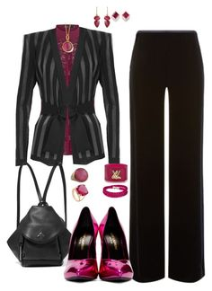 """Purple and black for work fashion"" by tori-holbrook-th on Polyvore featuring Karen Millen, Balmain, Armani Collezioni, MANU Atelier, Yves Saint Laurent, Swarovski, Monica Vinader, Jona, Irene Neuwirth and Syna"