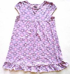 Girls Size 10-12 Circo Brand Nightgown, Light Purple, Stars, Ruffle Trim. $1.99