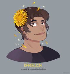 Hunk and Yellow Dandelion Flower in his hair from Voltron Legendary Defender