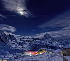 Moon over Gornergrat Railway - The Gornergrat railway is a mountain rack railway, located in the Swiss canton of Valais. It links Zermatt to the summit of the Gornergrat. Its highest station is situated at an altitude of 3,089 m. I was lucky enough to be there in the middle of the night to photograph the full moon above it. Actually it wasn't all luck, but rather quite a bit of an organizational effort. I hope the images are worth it...
