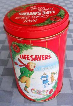 Lata de pastillas Life Savers de 1991 (edición limitada) / 1991 Limited edition Life Savers roll candy ~ Holiday keepsake tin
