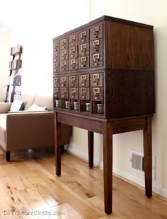 Refinished Vintage Library Cabinet as Craft/Office Storage.