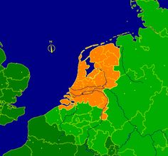 The Netherlands. In the east Germany, northeast Denmark. In the south Belgium and France (darker green). In the west, England. Just a few hours by ship. Netherlands Country, Visit Holland, East Germany, The Old Days, Creative Advertising, Leiden, Sweet Memories, Belgium, Orange Color