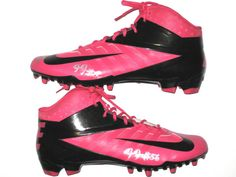Demario Davis New York Jets Game Issued & Signed Pink Breast Cancer Awareness Nike Cleats