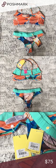 Dakine Dawn Patrol Bikini brand new with tags. both pieces are size small. 34B or smaller for the top. It isn't padded. VERY VERY COMFY! And the bottom truly fits a size 2. I'm a 4 with wide hips and it's a bit tight. It's a really cute cheeky fit on the bottom (I don't wish to model sorry) ☀️ please make an offer. this is $100 retail. Dakine Swim Bikinis
