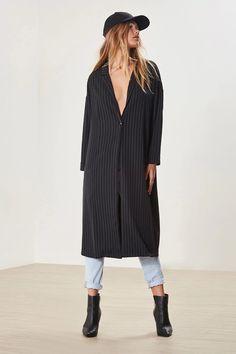 Product Name:Pinstripe Longline Blazer, Category:CLEARANCE_ZERO, Price:48