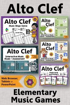 FUN interactive music games! Your elementary music students will LOVE these activities reinforcing reading the alto clef! #musicgames #elementarymusic