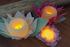 Tissue Paper LED Flowers with Candle Impressions flameless candles. A great night light alternative for older girls and cute bridal/baby shower decor.
