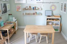 Our Montessori home - an art area for Primary and Early Elementary aged children! Art Area, Space Place, Learning Spaces, Art Store, Kid Spaces, First Home, Early Learning, Art Supplies, Home Art