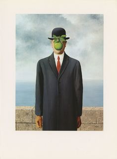 The Son Of Man, Man In Suit With Green Apple, Rene Magritte, Antique Print, USA, 1972. $10.00, via Etsy.