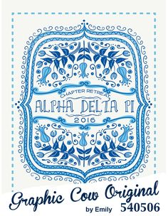 Alpha Delta Pi blue floral sorority PR tee #grafcow #sororityPR