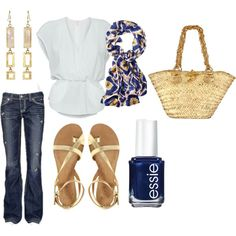 Gold & Navy, created by samigilmet on Polyvore, this sums me up (casual, not too fitted, a bit classic/boho/prep/vintage)