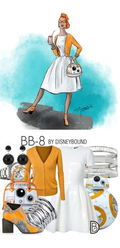 These Star Wars DisneyBound Sketches Are Out of This World - Star Wars Shoes - Ideas of Star Wars Shoes - Channel the cutest droid in the galaxy with this outfit by DisneyBounds Leslie Kay and drawn by artist Matthew Simpson. Star Wars Outfits, Disney Bound Outfits, Disney Inspired Outfits, Themed Outfits, Disney Style, Star Wars Shoes, Estilo Disney, Character Inspired Outfits, Star Wars Costumes