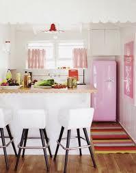 Pink Smeg refrigerator.