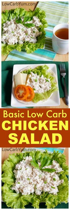 A basic low carb chicken salad recipe that's quick to make. You can add other things like onion, peppers, and pickles when you're looking for extra crunch.