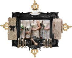 Gold Sequin for my Bridesmaids von divatmalom , lenox tea cups enthaltend Monique Lhuillier, Polyvore Fashion, Bridesmaids, Fashion Boards, Sequins, Clock, Lamps, Gold, Couture