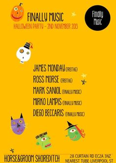 Finally Music   The Horse & Groom   London   https://beatguide.me/london/event/the-horse-groom-finally-music-halloween-party-20131102/poster/