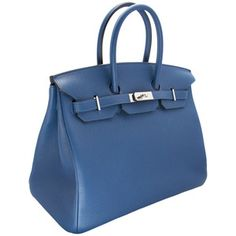 Hermes 35 Cm Birkin Thalassa Blue New ❤ liked on Polyvore featuring bags 571ddbe1a03d2
