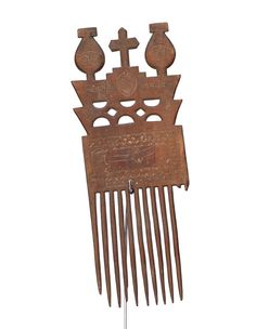 Ethnic Wooden Ashanti Comb #1613 | Combs | Artifacts — Deco Art Africa - Decorative African Art - Ethnic Tribal Art - Art Deco