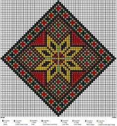 Mønster til bringeklut og belte i gnistrende farger. Med bl.a. tre forskjellige gyldne farger og tre forskjellige røde.... Cross Stitch Charts, Cross Stitch Designs, Cross Stitch Patterns, Knitting Patterns, Crochet Bedspread, Tapestry Crochet, Hand Embroidery Stitches, Cross Stitch Embroidery, Cross Stitch Cushion