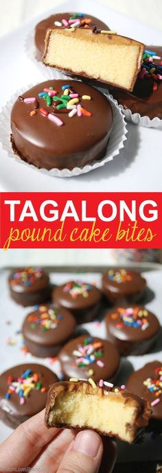 Tagalong Pound Cake Bites made with Sara Lee Pound Cake from @momlovesbaking.