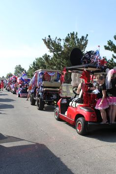 golf cart parades are fun at the lake