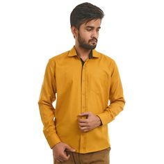 Mark Polo London Solid Men's Formal Shirt In Yellow Color  #Men, #CasualShirts, #FormalShirts, #DressShirts, #MenClothing, #ebizy, #discount, #offer
