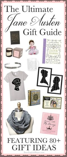 Jane Austen; ultimate Jane Austen gift guide; Jane Austen gifts; gift guide; 80+ items; Jane Austen fan; Jane Austen books; Pride and Prejudice; Sense and Sensibility; English major