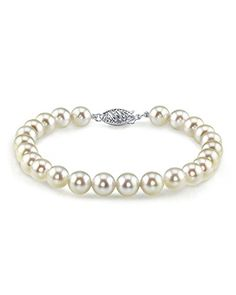 14K Gold 7.0-7.5mm Japanese Akoya White Cultured Pearl Bracelet -- Check this awesome product by going to the link at the image.
