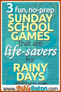 Indoor Sunday School games for rainy days - fun, no prep activities for kids to use at church Bible School Games, School Games For Kids, Easy Games For Kids, Indoor Games For Kids, Group Games For Kids, Youth Games, Sunday School Activities, Games For Teens, Sunday School Crafts