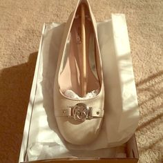 Michael Kors Flats White Saffiano Leather Brand New! Whit Saffiano leather with silver embellishment. Size 7 Michael Kors Shoes Flats & Loafers