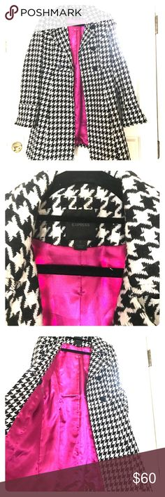 Black and White Houndstooth Wool Coot Winter wool coat from Express. Few years old but mostly just sits in my closet! Probably only ended up wearing it a few times. Too many coats! I love the pink lining. Makes it a little more fun :) Express Jackets & Coats Pea Coats