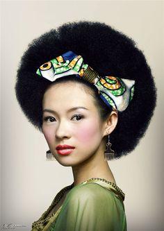 Ziyi Zhang Oriental Afro Hair - Wow!!!  Afro hair is trending across cultures!