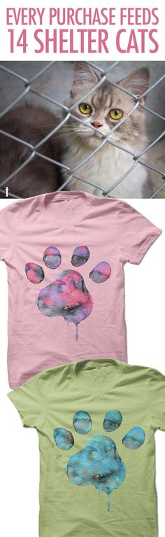 I love love love this design! And for such a good cause! :) http://iheartcats.com/product/watercolor-paw/?utm_source=PinterestAd_WatercolorPawShelterFeeds&utm_medium=link&utm_campaign=PinterestAd_WatercolorPawShelterFeeds