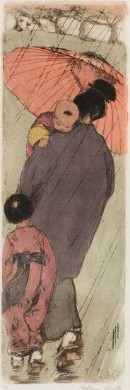 """Etcher and Engraver Artist Helen Hyde (American: 1868 - 1919) -  """"The Red Umbrella"""", 1918"""