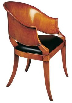 AUSTRIAN BIEDERMEIER STYLE ARMCHAIR with a dark walnut stain and white leather upholstery, how perfect would that be?