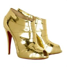 Christian Louboutin Robot 120 Gold Peep Toe Ankle Boots - $108.87