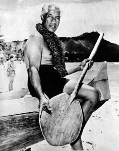From 1912 to 1932, Duke Kahanamoku won five Olympic medals, including three golds in swimming. He was sheriff of Honolulu from 1934 to 1960 and was the official greeter for the state of Hawai'i from 1960 until he died in 1968. This photo was taken in August 1950.