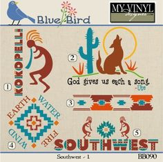 DIGITAL DOWNLOAD ... Southwest vectors in AI, EPS, GSD, & SVG formats @ My Vinyl Designer #myvinyldesigner #bluebird