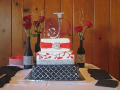 square, 3 tiered, Red, Black and white wedding cake