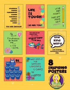 Set of 8 Inspiring Posters.  Perfect for your counseling office or classroom.