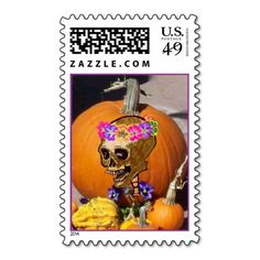 Skull and Pumpkin Halloween Stamp