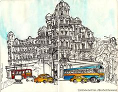 Esplanade Mansions, Calcutta!   The #IndiaSeries is a new line of sketches I am indulging in to bring forth public awareness in terms of the architectural wealth and heritage and culture India is blessed with. Dotted with a varied number of architecture styles, it's important that one understands and comes forth to conserve these living urban fabric. Some of these sketches are live and some are from photographs I find online, adapted to my artistic abilities.