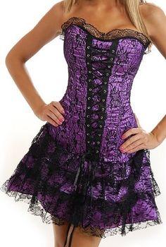 Corset Buy Delicate IV Purple Brocade Overbust Corset Dress With Side Zipper